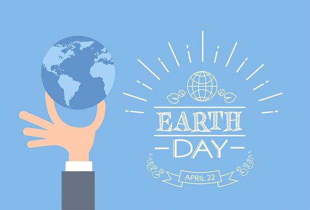 Dzień ziemi biznes człowiek ręka trzymać glob