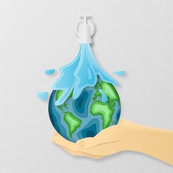 Dzień ziemi codzienna koncepcja w stylu cięcia papieru. 3d papierowa sztuka. origami sprawiło, że woda spływa z rury po rzeźbionych kształtach map ziemi na ludzkiej dłoni.