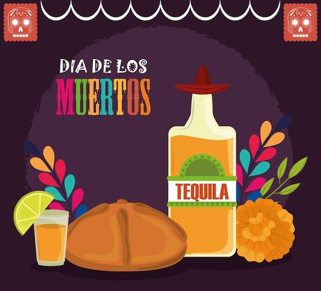 Dzień zmarłych, butelka tequili chleb kwiaty meksykańskie obchody wektor ilustracja