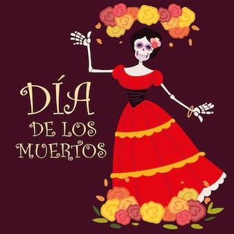 Dzień zmarłych, catrina z czerwoną sukienką i dekoracją w kwiaty, meksykańskie świętowanie