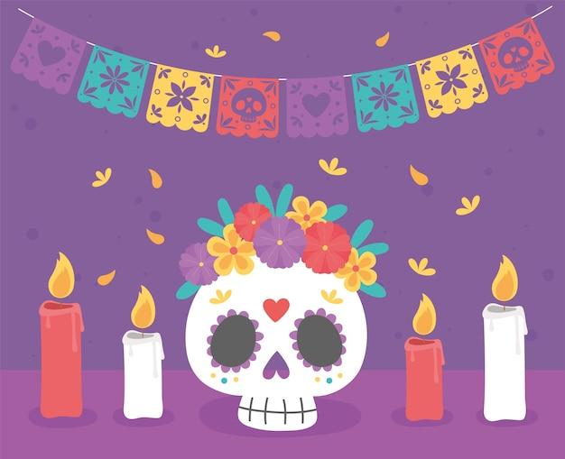 Dzień zmarłych, catrina z kwiatami palącymi świece tradycyjne meksykańskie święto.
