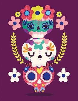 Dzień zmarłych, catrinas kwiaty dekoracji tradycyjne uroczystości meksykańskie