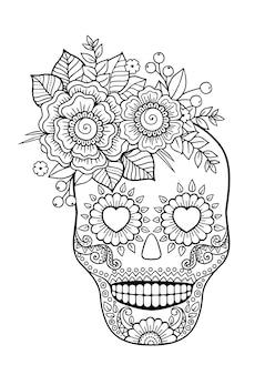 Dzień zmarłych, cukrowa czaszka zentangle. kolorowanka dla dorosłych wektor