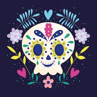 Dzień zmarłych, czaszka z wieńcem kwiatów tradycyjne meksykańskie święto