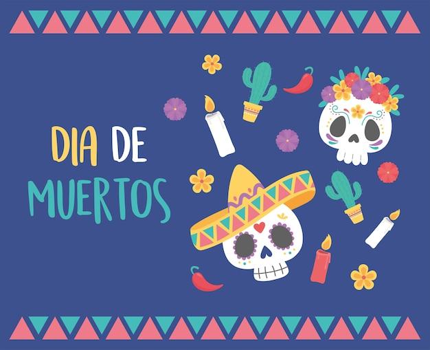 Dzień zmarłych, czaszki kapelusz, kwiaty, świece, kaktusy, meksykańskie świętowanie.