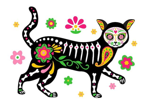 Dzień zmarłych dia de los muertos urocza czaszka kota i szkielet z kolorowymi meksykańskimi elementami