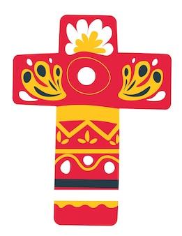 Dzień zmarłych, krzyż ze zdobionymi bokami i powierzchnią. ozdoby na ukrzyżowanie. meksykańska tradycja malowania obiektów na wakacje, świąteczna dekoracja na święta halloween, wektor w stylu płaski