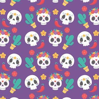 Dzień zmarłych, meksykańska kultura celebracja kaktus czaszka kwiaty ozdoba tło.