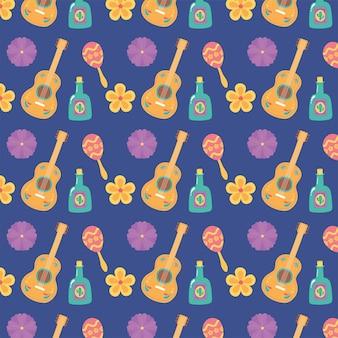 Dzień zmarłych, meksykańska uroczystość gitara tequila butelka kwiaty maraca fioletowe tło.