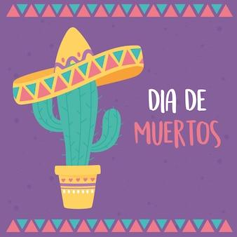 Dzień zmarłych, meksykański kaktus w doniczce z kartą w kapeluszu.