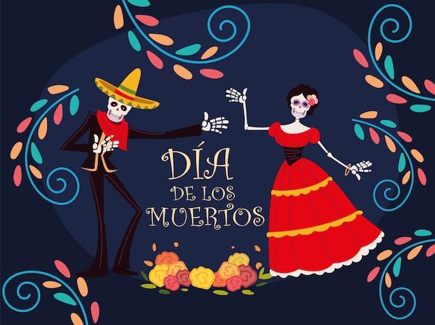 Dzień zmarłych, meksykański szkielet catrina i uroczystość dekoracji kwiatów