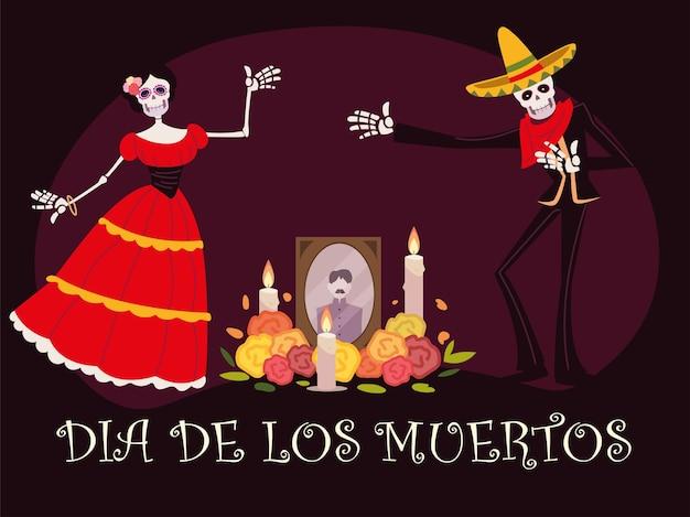 Dzień zmarłych, ołtarz ze świecami fotograficznymi szkielet catrina i kwiatami, meksykańskie świętowanie