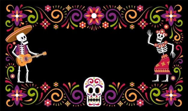 Dzień zmarłych ozdobna rama dia de muertos ze szkieletem w kwiatach sombrero i catrina calavera