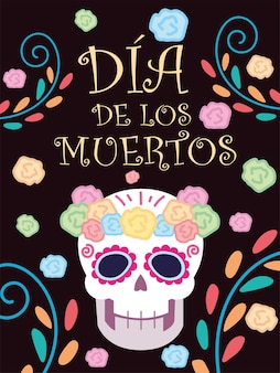 Dzień zmarłych, ozdobne kwiaty w meksykańskim święcie czaszki