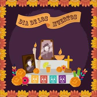 Dzień zmarłych, rodzinne zdjęcie ołtarza, świece nagietka, kwiaty, meksykańska celebracja ilustracji wektorowych