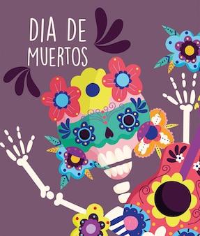 Dzień zmarłych, szkielet kwiaty festiwal dekoracji tradycyjne święto meksykańskie