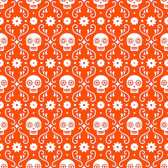 Dzień zmarłych szwu z czaszkami i kwiatami na czerwonym tle. tradycyjny meksykański projekt halloween na przyjęcie świąteczne dia de los muertos. ornament z meksyku.
