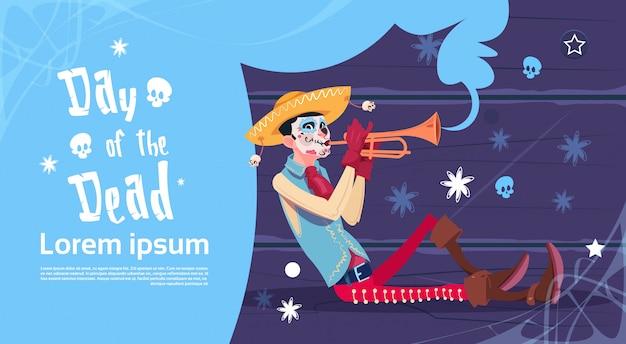 Dzień zmarłych tradycyjne meksykańskie halloween holiday party dekoracja zaproszenie banner