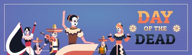 Dzień zmarłych tradycyjne meksykańskie transparent halloween
