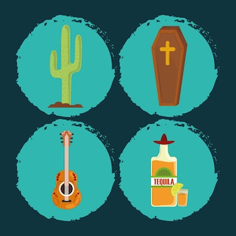 Dzień zmarłych, trumna, gitara, butelka tequili i kaktus ikony meksykańska celebracja ilustracji wektorowych