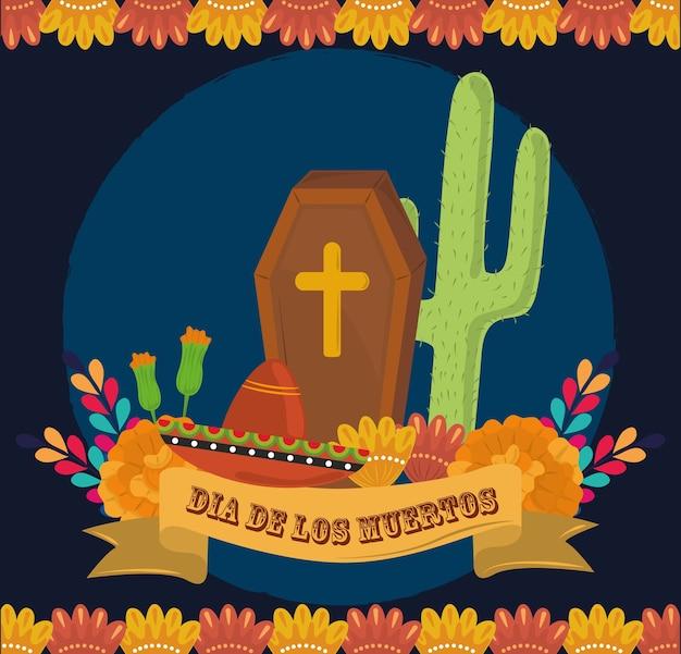Dzień zmarłych, trumna kaktusowy kapelusz i kwiaty, ilustracja wektorowa meksykańskiej celebracji