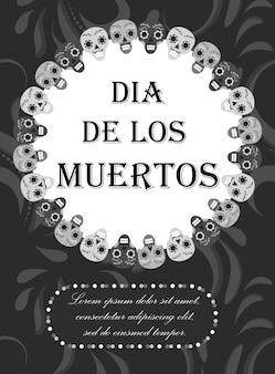 Dzień zmarłych ulotki, plakat, zaproszenie. karta szablonu dia de muertos dla twojego. koncepcja wakacje w meksyku. ilustracja.