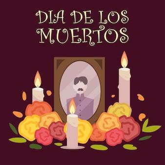 Dzień zmarłych, zdjęcie w ramce ze świecami i kwiatami meksykańskie świętowanie