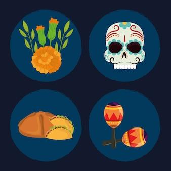 Dzień zmarłych, zestaw ikon, czaszki, chleb, kwiaty i marakasy, ilustracja wektorowa meksykańskiej celebracji