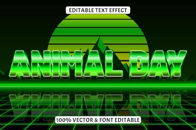 Dzień zwierząt edytowalny efekt tekstu w stylu retro