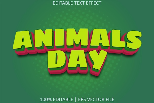 Dzień zwierząt z edytowalnym efektem tekstowym w stylu kreskówki