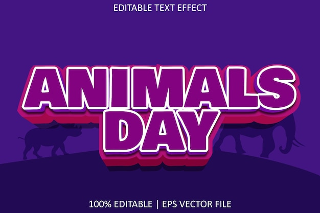 Dzień zwierząt z efektem edycji tekstu w nowoczesnym stylu