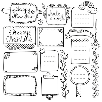 Dziennik punktorów i świąteczne ręcznie rysowane elementy do notatnika, pamiętnika i terminarza. doodle ramki na białym tle