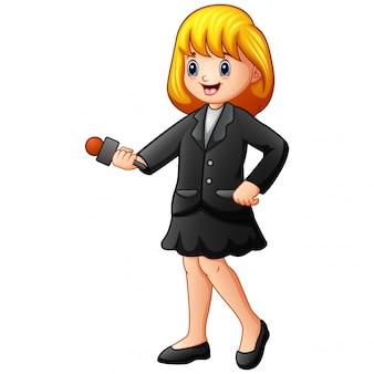 Dziennikarz dziewczyna trzyma mikrofon wiadomości z ostatniej chwili