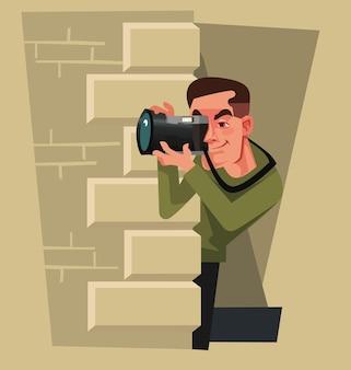 Dziennikarz Fotograf Paparazzi Mężczyzna Postać Ukrywa Się I Próbuje Zrobić Zdjęcie Celebryty Premium Wektorów
