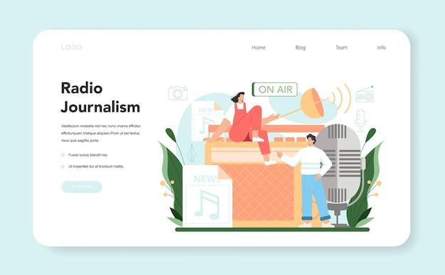 Dziennikarz internetowy baner lub pomysł na stronę docelową wiadomości emitowanych w studio