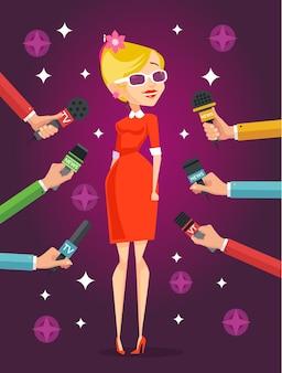 Dziennikarz przeprowadza wywiady ze sławną dziewczyną. płaska ilustracja
