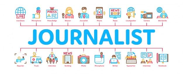 Dziennikarz reporter minimalny transparent infographic