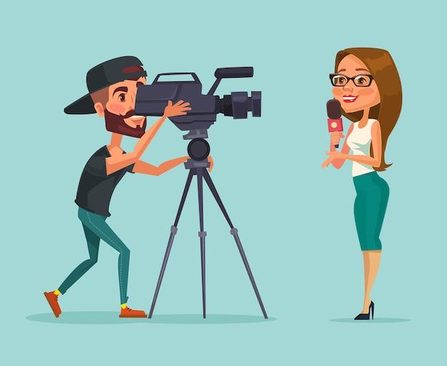 Dziennikarze kobieta reporter płaska ilustracja kreskówka
