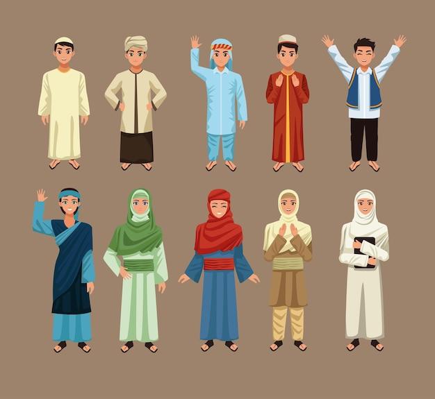 Dziesięć arabskich osób