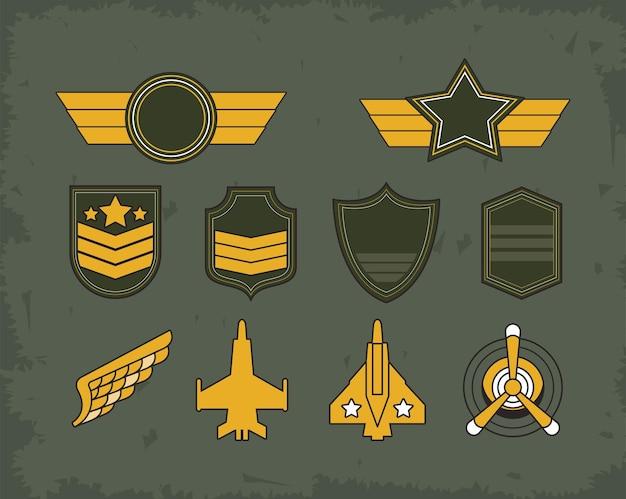Dziesięć emblematów i medali wojskowych
