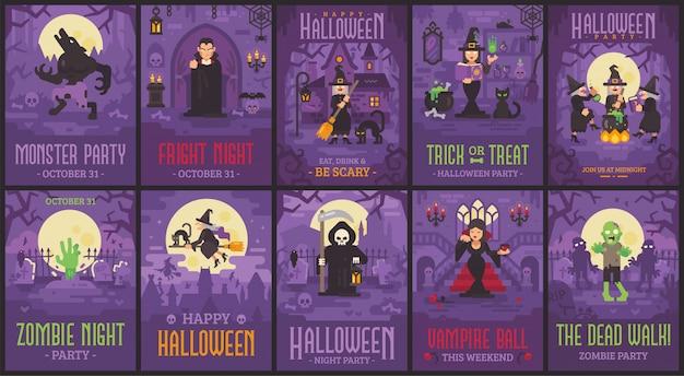 Dziesięć plakatów halloween z wiedźmami, wampirami, zombie, wilkołakami i ponurym żniwiarzem. kolekcja ulotek halloween
