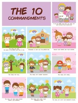 Dziesięć przykazań chrześcijaństwa, ilustracja kreskówka