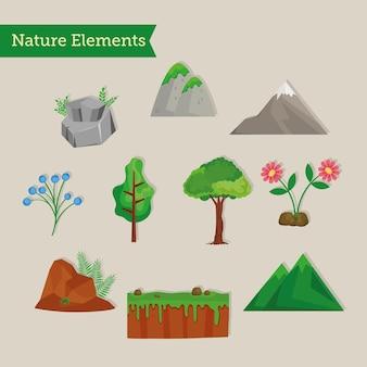Dziesięć zestaw clipartów scen natury