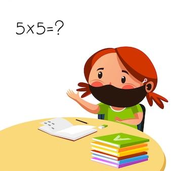 Dziewczęca maska ma sesję z matematyki
