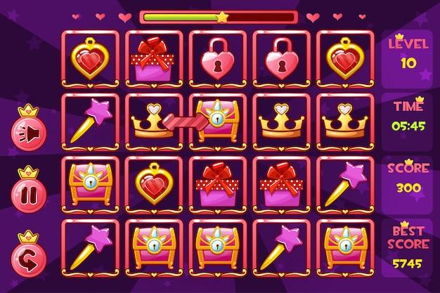 Dziewczęcy interfejs księżniczki match3 gry i przyciski, ikony zasobów gry