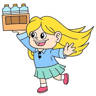 Dziewczęta i kobiety przynoszą butelkowane napoje do serwowania, doodle rysują kawaii. sztuka ilustracji wektorowych