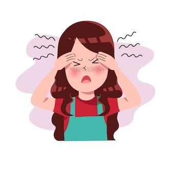 Dziewczęta, kobiety lub ludzie mający ból głowy. migrena. naprężenie. depresja. frustracja i wyrażanie gniewu. pojęcie choroby. odosobniony. ilustracja w stylu cartoon płaski. zdrowie i medycyna