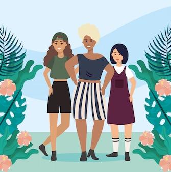 Dziewczęta z bluzką i krótkim strojem z casualowymi ubraniami