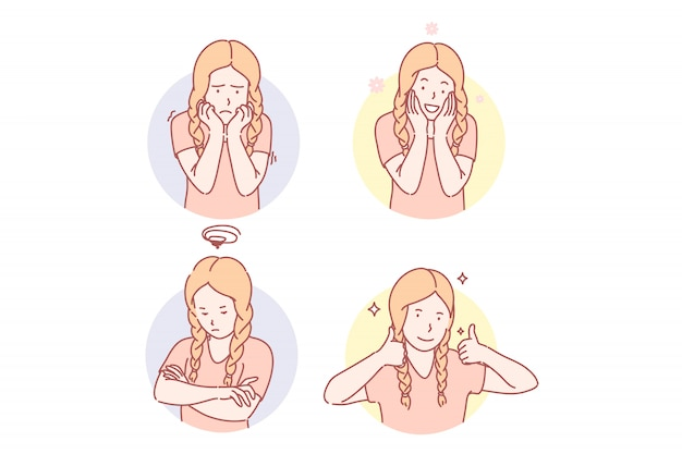 Dziewczyn emocjonalni wyrazy twarzy ustawiają ilustrację