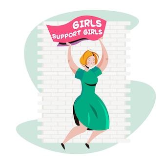 Dziewczyna aktywistka trzyma plakat ruch inicjacji kobiet kobiet koncepcja władzy pełnej długości ilustracji wektorowych